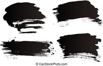 Vector grunge brushes  Vector set of black brush strokes