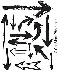 vector, grunge, cepillo, flechas
