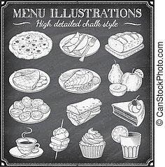 Vector Grunge Chalkboard Food Illustrations
