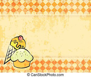 Vector grunge checkered background with dessert. Retro style...
