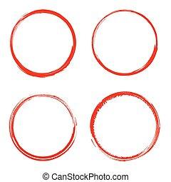 Vector grunge circle brush stroke frame isolated