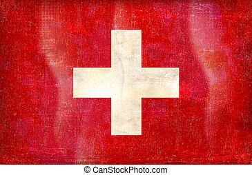 vector, grunge, diseñar, bandera, de, suiza