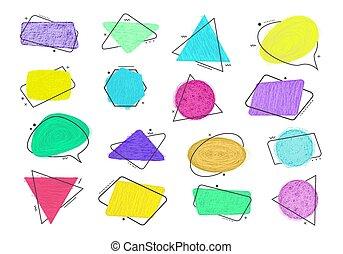Vector grunge doodle style sketch colored frames