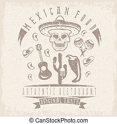 vector grunge emblem of restaurant with skull in mexican sombrero