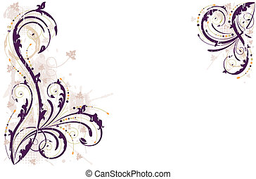 Vector grunge floral background - Grunge floral background...