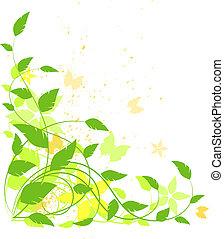 Vector grunge floral background, green, yellow, orange....
