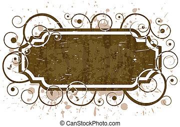 grunge floral swirl frame pattern
