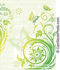 Vector grunge green floral background