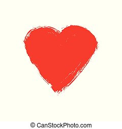 Vector grunge heart. Love shape heart drawn with red paint on a white background. Illustration vintage design element