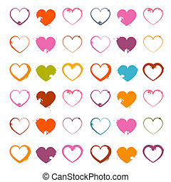 Vector Grunge Heart Symbols Set Isolated on White Background