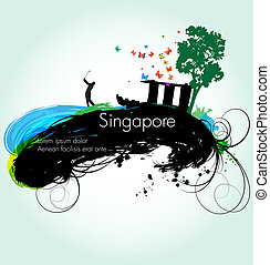 Vector grunge illustration of Singapore