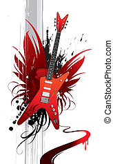 Vector grunge illustration with heavy metal guitar