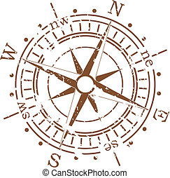 vector, grunge, kompas