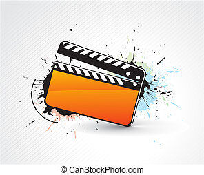 Vector grunge modern colored clapper board with white board. vector illustration