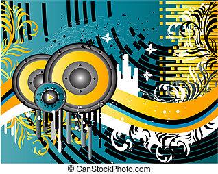 Grunge Music Background - Vector Grunge Music Background...