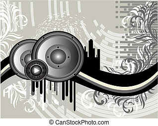 Grunge Music Background - Vector Grunge Music Background...