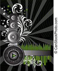 Music Background - Vector Grunge Music Background with...