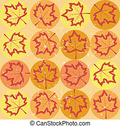 grunge pattern with maple leaves