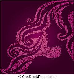 "Vector grunge pink illustration of a girl with beautiful hair (from my big ""Vintage girl collection"")"