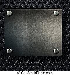 vector, grunge, plano de fondo, plato metal, con, tornillos
