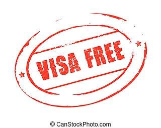 vector, grunge, postzegel, kosteloos, visum, rood