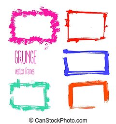 Vector grunge rectangle frames. Hand drawn art collection.