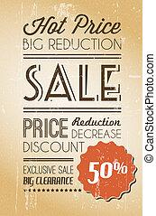Vector grunge retro sale background