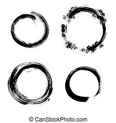 Vector grunge round frames. Hand drawn collection.