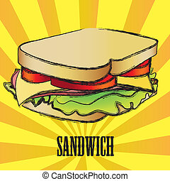 vector grunge Sandwich over yellow and orange stripes, ...