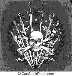 vector, grunge, schedel, zwaarden