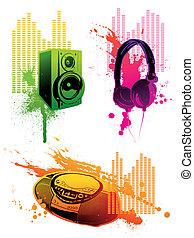 Vector grunge set of musical equipment - loudspeaker, headphones & tape recorder