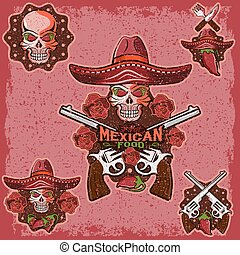 vector grunge skull in a Mexican sombrero with chili peppers,flowers and guns