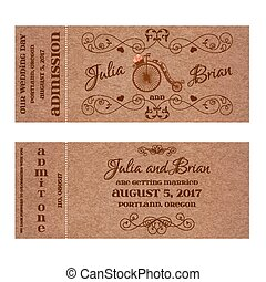 Vector Grunge Ticket for Wedding Invitation with retro bicycle