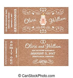 Vector Grunge Ticket for Wedding Invitation with burning candle