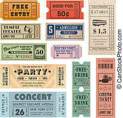 Vector Grunge Tickets - Collection of eleven Vector hi...