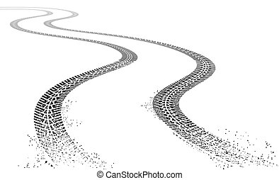 Vector grunge Tire tracks - Vector illustration of two dirty...