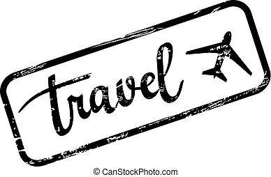 Vector grunge travel stamp. Calligraphy and plane icon