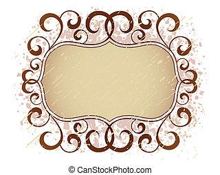 grunge vintage floral banner frame pattern