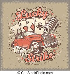Vector grunge vintage illustration, poster with four card aces, retro car and old microphone.