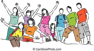 vector, grupo, adolescentes, ilustración, gente