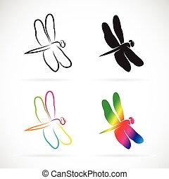 vector, grupo, de, libélula, blanco, plano de fondo