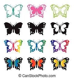 vector, grupo, de, mariposa, blanco, fondo.
