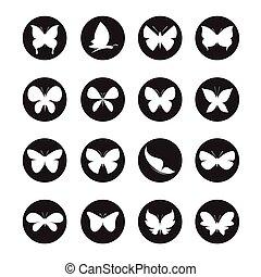 vector, grupo, de, mariposas, en, el, círculo