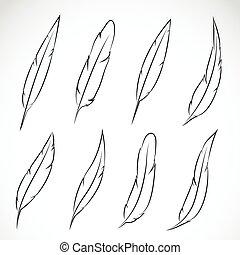 vector, grupo, de, pluma, blanco, fondo.