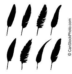 vector, grupo, de, pluma, blanco, plano de fondo