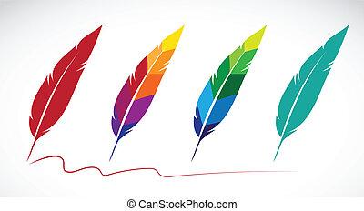 vector, grupo, de, plumas, blanco, plano de fondo