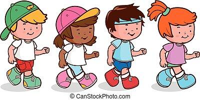 vector, grupo, ilustración, diverso, running., niños