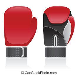 vector, guantes, boxeo, ilustración