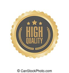 Vector Guaranteed Premium Quality Gold Sign, Round Label