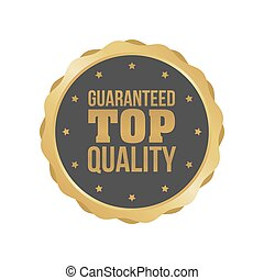 Vector Guaranteed Top Quality Gold Sign, Round Label